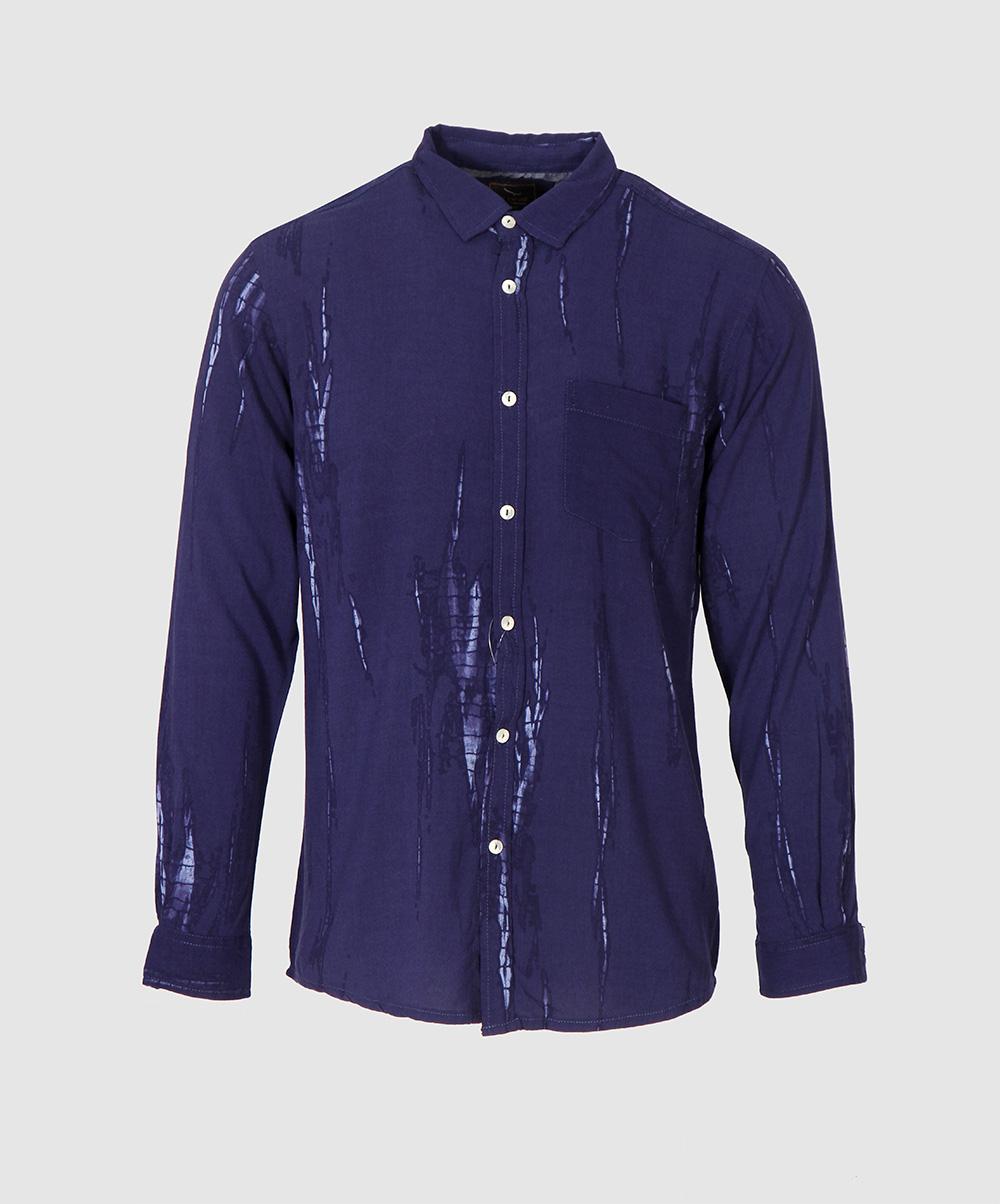34ed668230821b Navy Blue Tie Dye Casual Shirt